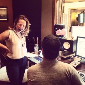 In the recording studio.