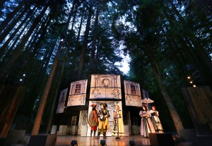 See Shakespeare under the redwoods at Santa Cruz Shakespeare!  THE LIAR (pictured here) plays in rep throughout the summer.  Go to santacruzshakespeare.org for tickets and more info.  Toby Onwumere (Cliton), Brian Smolin (Dorante), Mary Cavett (Clarice), Sierra Jolene (Lucrece), and Melinda Parrett (Isabelle/Sabine) in Santa Cruz Shakespeare¹s production of The Liar by David Ives. Photo by Shmuel Thaler.