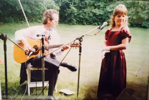 Young Lenne and her dad, making music.