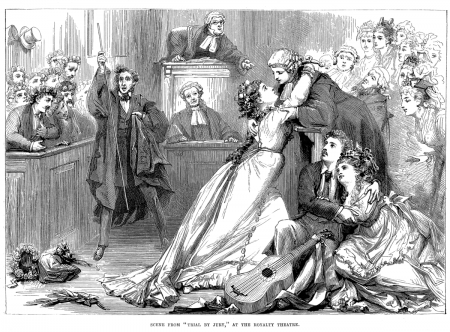 Black and white engraving of a scene from Trial by Jury. The defendant and the plaintiff embrace in the courtroom with everyone watching.