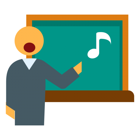 Cartoon image of a person singing and pointing to a musical note on a blackboard.